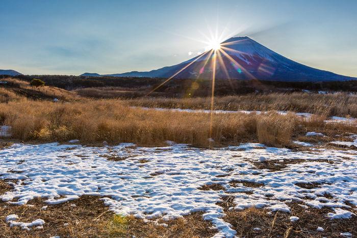 富士山越しの初日の出の様子