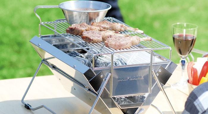 ユニフレームのBBQグリル、ユニセラで焼かれたお肉