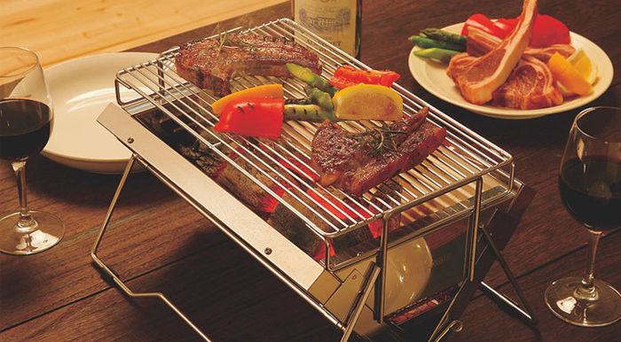 ユニフレームのBBQグリル、ユニセラで焼かれたお肉と野菜