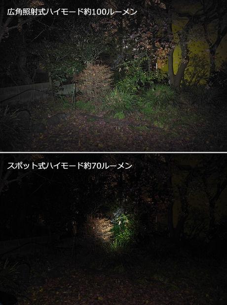 ヘッドライトのハイモードの比較写真