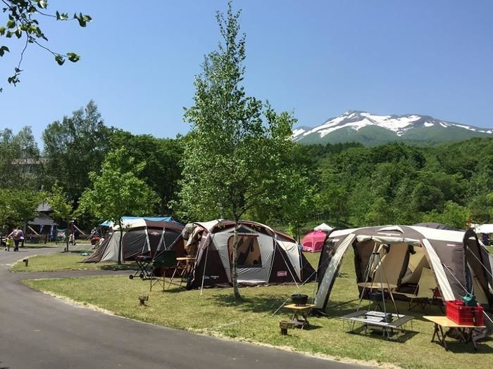 キャンプ場と森と山
