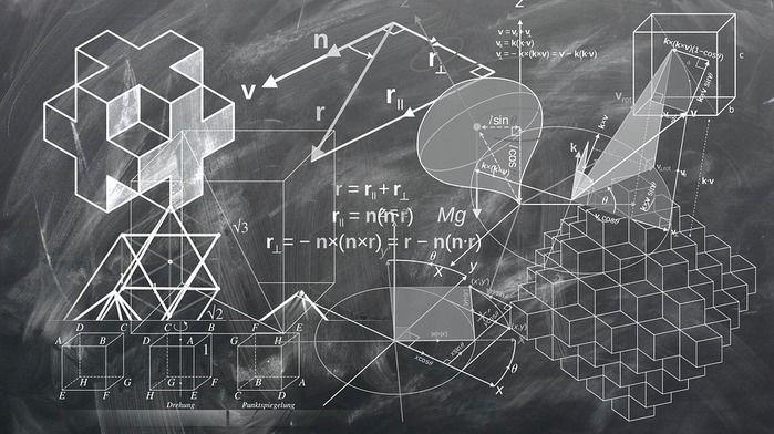 数学の公式が書かれた黒板