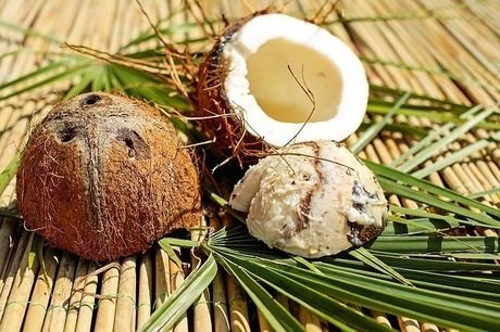半分に割ったココナッツ