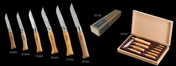 様々なサイズのオピネルナイフ