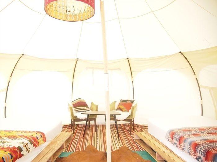 グランピングのテント内の様子