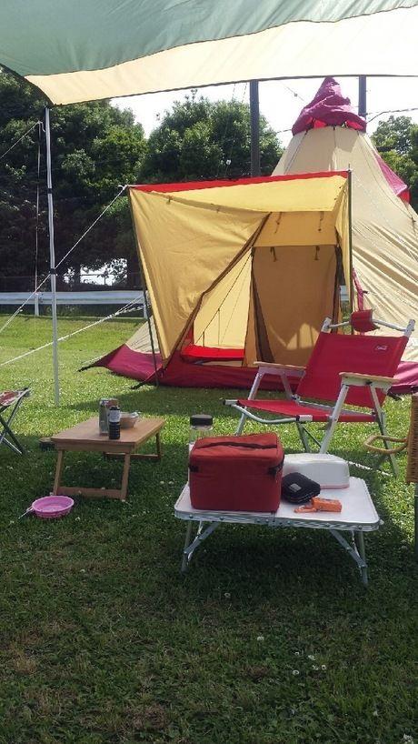 芝生の上のタープから見たテント