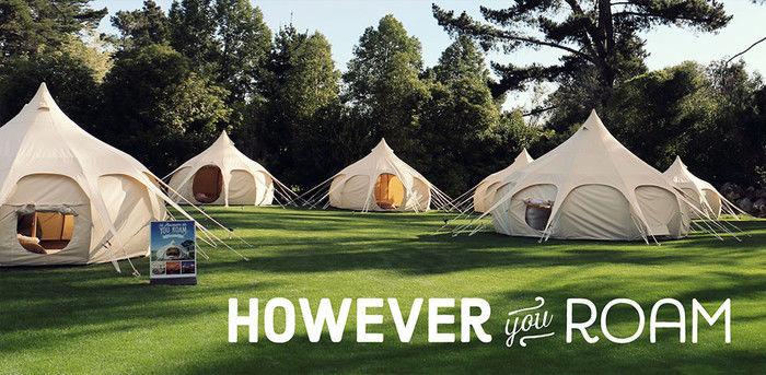 芝生の上に張られたグランピングテント