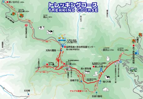 美ヶ原のトレッキングコースマップ