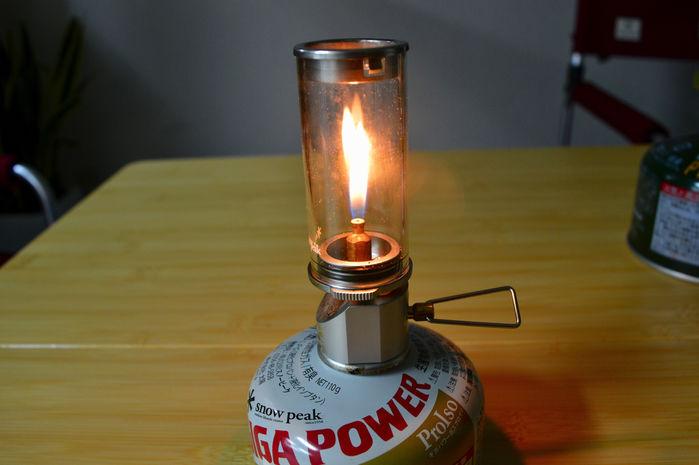 リトルランプ ノクターンのガス量を最小にした様子