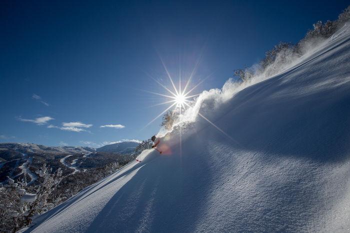 キロロリゾートでスキーをする人