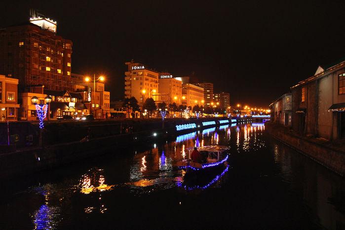 ライトアップされた小樽運河