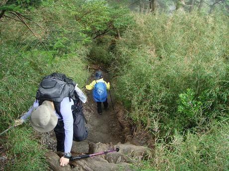 新潟県、平ヶ岳に登る人