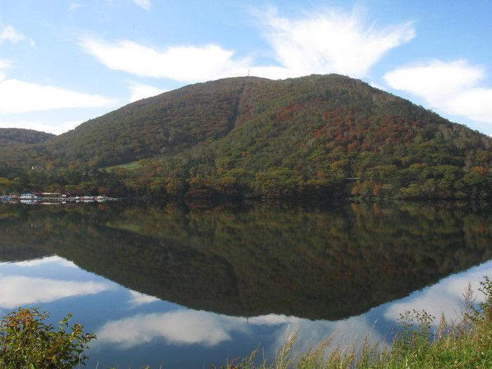 赤城山と赤城山前に広がる湖