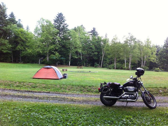 森の中にあるテントとバイク