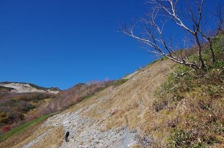 巻機山の登山道、井戸尾根コースを歩く人