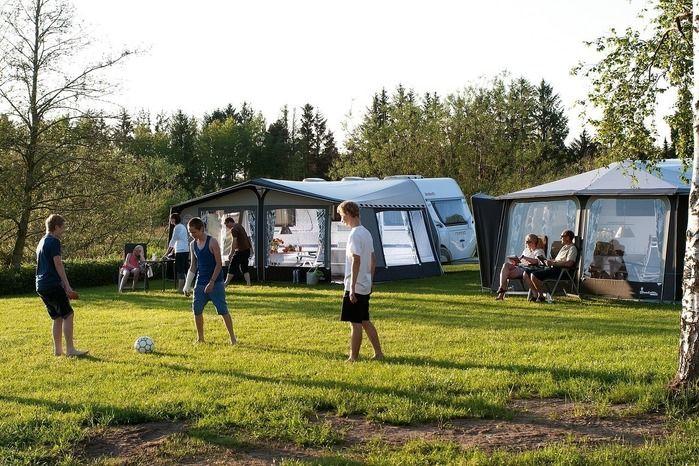 キャンプ場でキャンプを楽しむ人々
