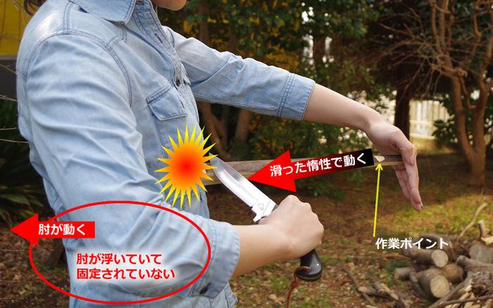 刃を自分に向けて切るときのやり方