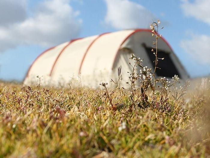 野原に設置されたカマボコテント