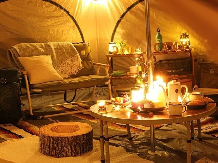 ドッペルギャンガーアウトドアのタケノコテントのおしゃれなテントの内装