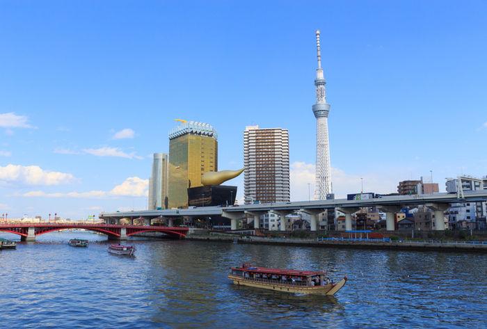 橋から見た錦糸町とスカイツリー