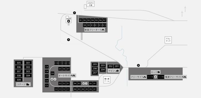 奥日田キャンプフィールド内の区画の地図