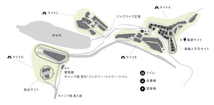 箕面キャンプフィールド内のサイト区画の地図