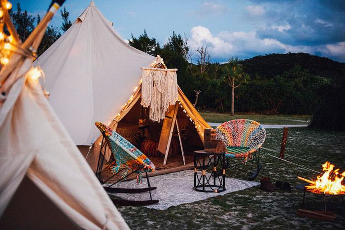 アウトドアパーク2017、Gypsy Fire Streamのグランピングテントのブース