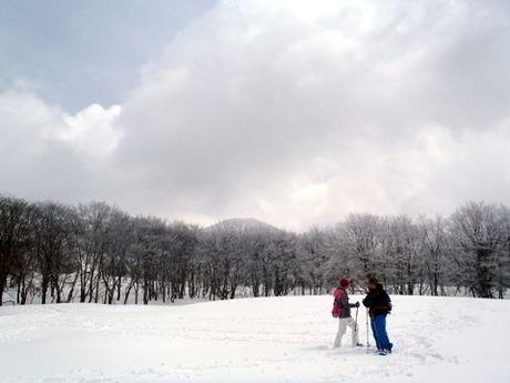 雪山で遊ぶ人