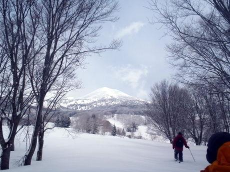 雪原から見える雪山