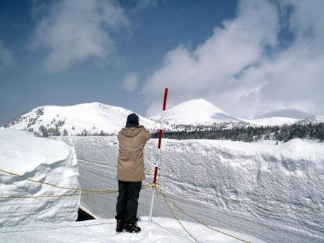 酸ヶ湯公共駐車場から雪原を眺める人