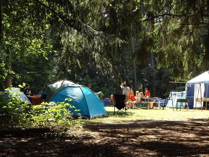 キャンプ場でテントを張りキャンプを楽しむ人々