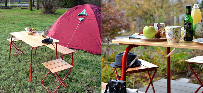 カステルメルリーノのテーブルとチェアを使ったキャンプ