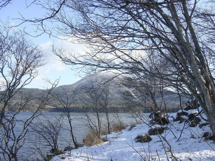 雪が積もった阿寒湖
