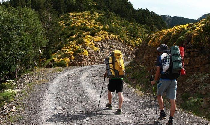 リュックを背負い山道を歩く人