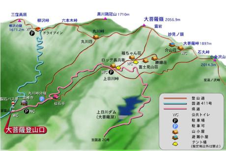大菩薩嶺のマップ