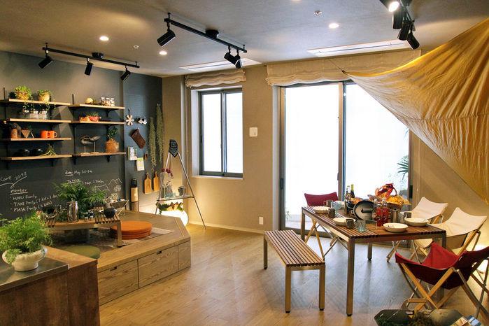 スノーピークと三井不動産レジデンシャルのタイアップによる都心型タワーマンションの内観