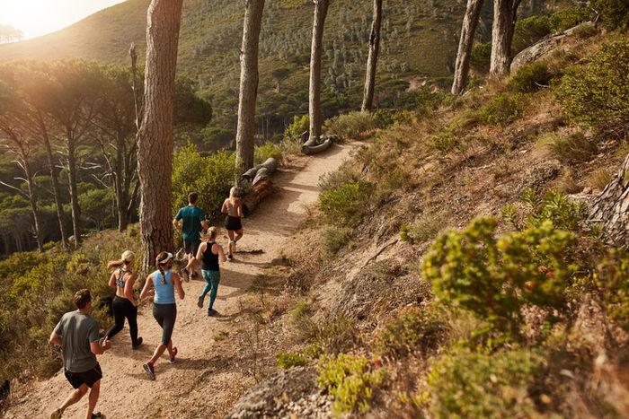 トレッキングコースを走る人々