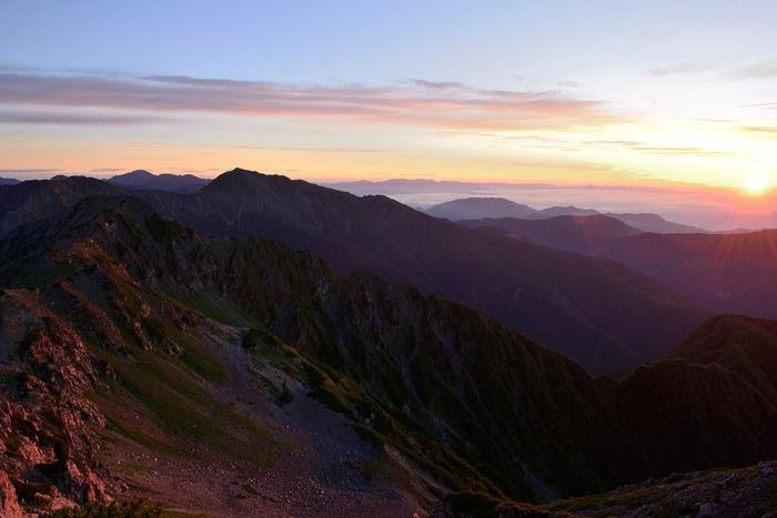 夕陽と南アルプス