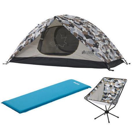 ロゴスのカモフラの1人用テント、インフレーターマット、コンパクトチェア