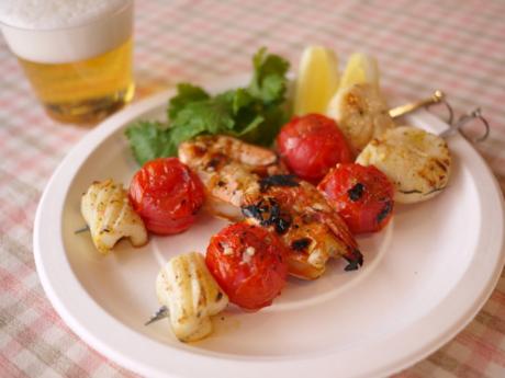 野菜と魚介の串焼き