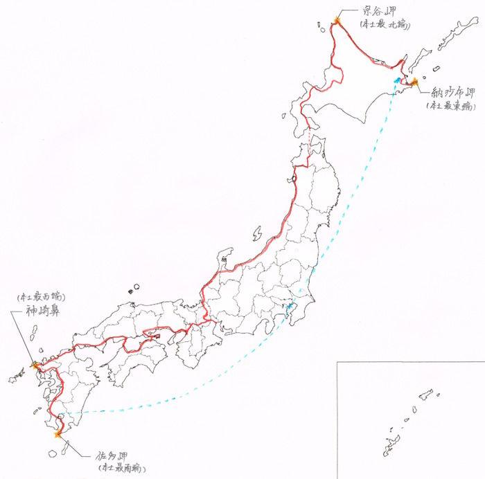 ルートの赤い線が引かれた日本地図
