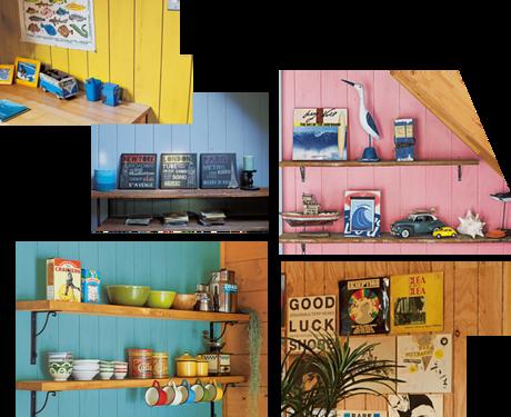 様々なカラーに塗られたボロックス合板
