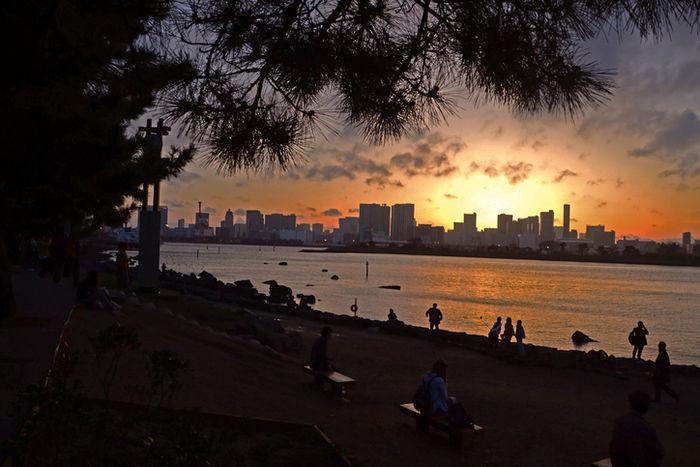 お台場海浜公園の夕暮れ