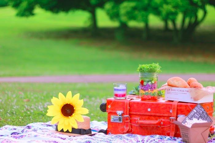 芝生の上のピクニックセット