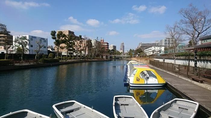 横十間川親水公園のボート乗り場の様子