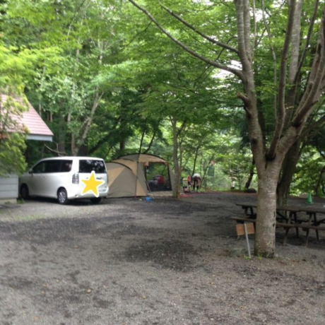 ニュー田代オートキャンプ場の広いキャンプサイト