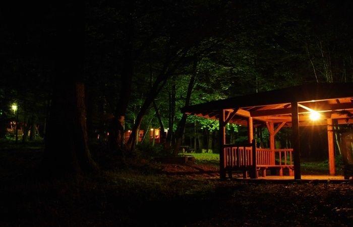 オンネトー野営場のキャンプサイトの夜の様子