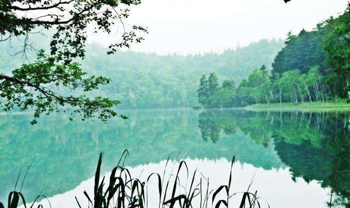 オンネトー野営場の神秘的な湖