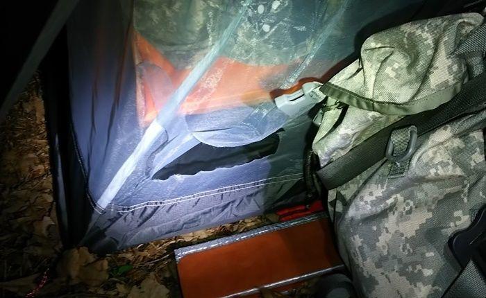 キタキツネの被害にあったテント