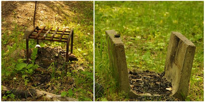 ぬかびら湖野営場の2つの炉
